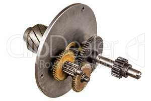 Gear wheels of reducer motor, isolated on white background