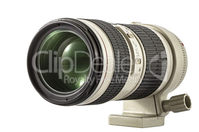 Zoom camera lens, isolated on white background