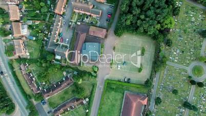 Aerial View Houses in Residential Suburban Neighborhood