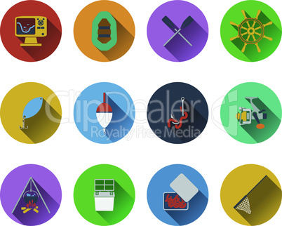 Set of fishing icons