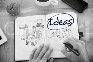Ideas  against business and cityscape