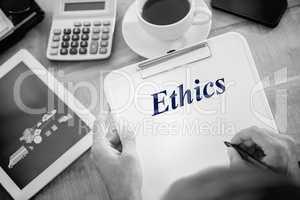 Ethics against logistics graphics