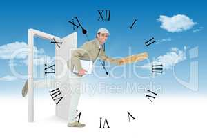 Composite image of happy delivery man running while holding parc