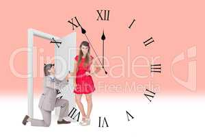 Composite image of hipster on bended knee doing a marriage propo
