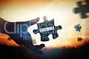 Firewall against orange sunrise