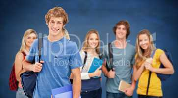 Composite image of a group of smiling college students look into