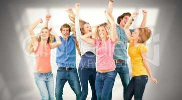 Composite image of friends partying together while laughing and
