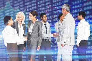 Composite image of business people speaking together