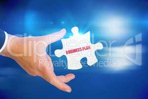 Business plan against bright blue sky with clouds