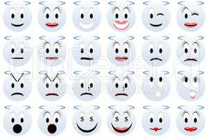 Angels emoticons set or collection