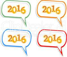Happy new year 2016 creative greeting card design, Year 2016 stickers set design element isolated on white
