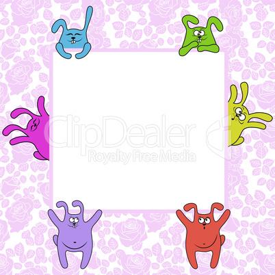 Six rabbits holding a big banner