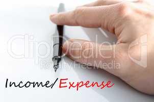 Income expense Text Concept