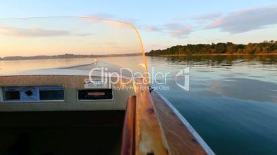 Electric boat at a lake