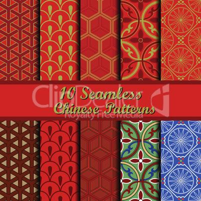 Set of Chinese seamless patterns