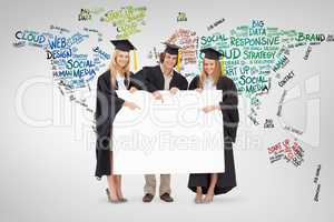 Composite image of three students in graduate robe holding and p