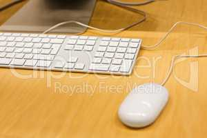 Working place with keyboard and mouse