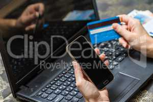 Smart phone and computer for on line payment