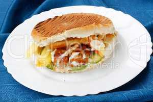 One sandwich of hamburger fast food