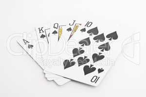 Spade Royal Flush cards on white