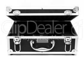 Open black suitcase isolated over white
