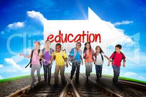 Education against railway leading to blue sky