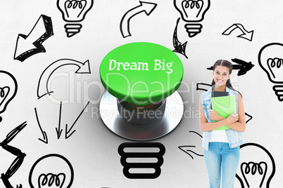 Dream big against digitally generated green push button