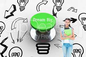 Dream big against digitally generated green push button