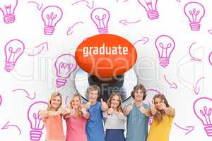 Graduate against orange push button