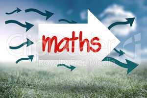 Maths against sunny landscape