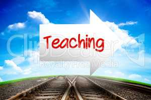 Teaching against railway leading to blue sky