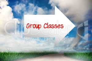 Group classes against road leading out to the horizon