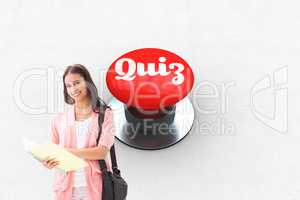 Quiz against digitally generated red push button