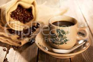Traditional style Hainan coffee in vintage mug