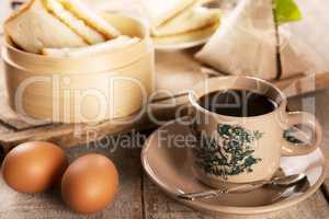 Traditional Malaysian Nanyang coffee and breakfast