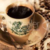 Traditional style Malaysian Chinese coffee in vintage mug