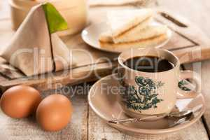 Traditional Malaysian Chinese coffee and tasty breakfast