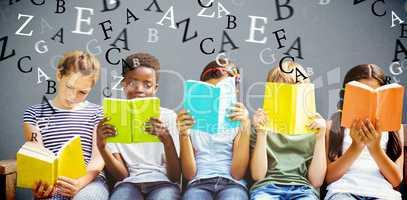 Composite image of children reading books at park