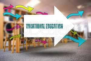 Vocational education against volumes of books on bookshelf in li