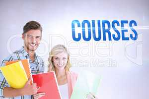 Courses against grey background