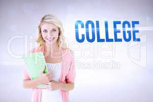 College against grey background