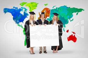 Composite image of three students in graduate robe holding a bla