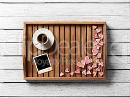 Instant photo frame and many cute hearts