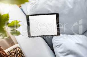 Black tablet device in landscape position