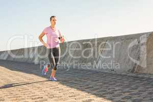 Sporty blonde jogging at promenade