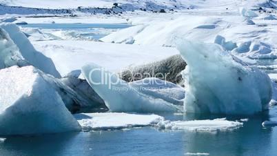 Global warming at a glacier lagoon Jokulsarlon