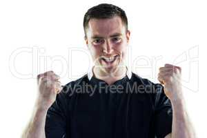 Excited rugby player yelling out