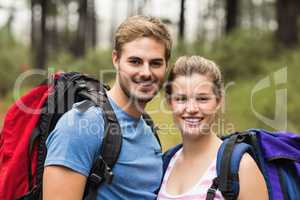 Portrait of young happy hikers