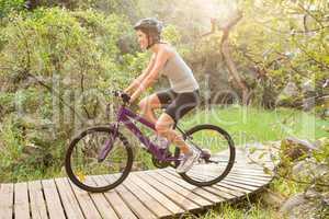 Athletic brunette mountain biking on wooden path