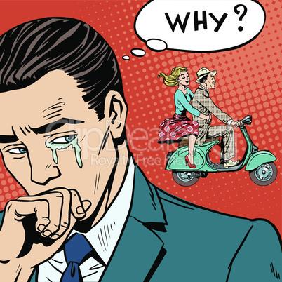 man weeps love breakup cheating